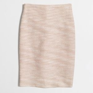 J. Crew Pink & Silver Tweed Pencil Skirt Size 10